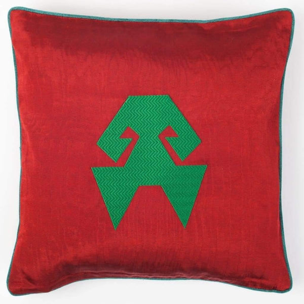 Kutnu Silk Pillow with Embroidery - HandsOnHips Red Authentic Silk Cushion - Yastk
