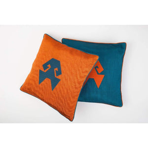Kutnu Silk Pillow with Embroidery - HandsOnHips Turquoise Authentic Silk Cushion - Yastk