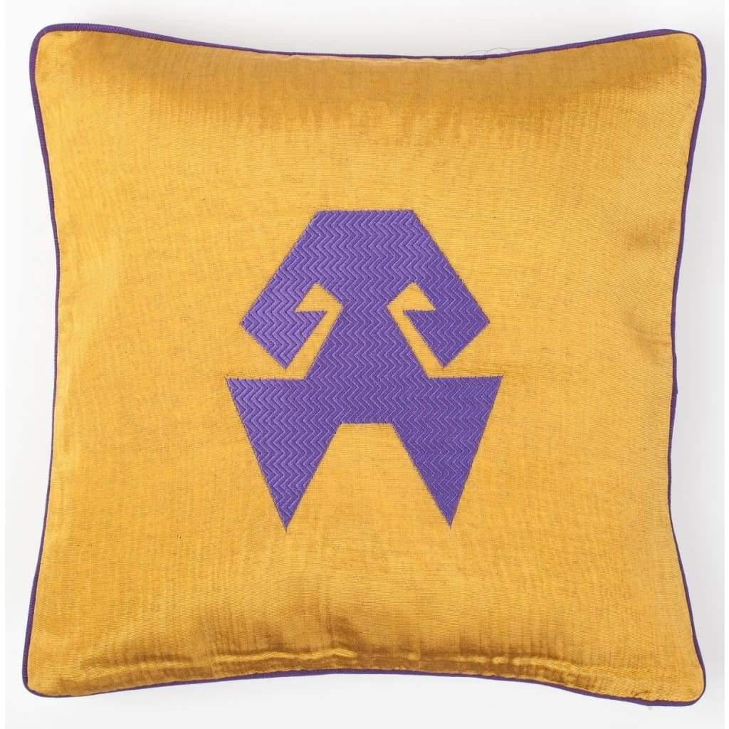 Kutnu Silk Pillow with Embroidery - HandsOnHips Yellow Authentic Silk Cushion - Yastk