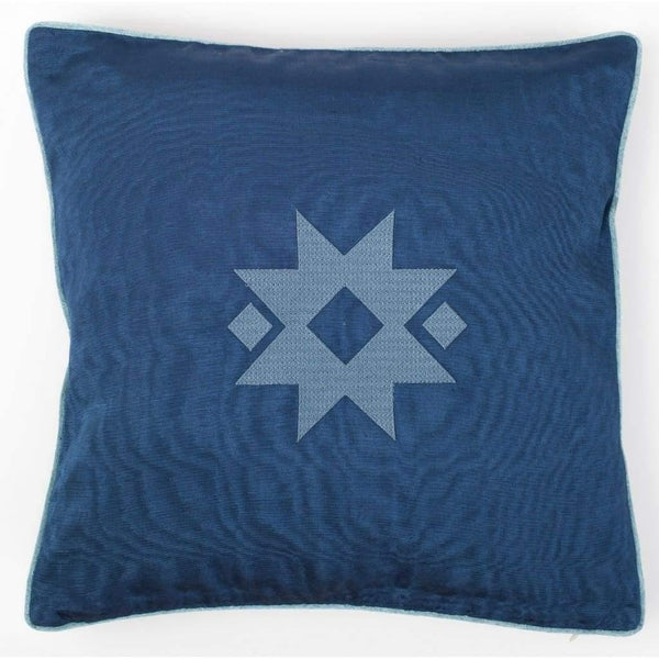 Kutnu Silk Pillow with Embroidery - Star Dark Blue Authentic Silk Cushion - Yastk
