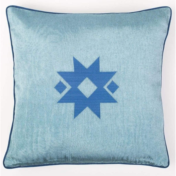 Kutnu Silk Pillow with Embroidery - Star Light Blue Authentic Silk Cushion - Yastk