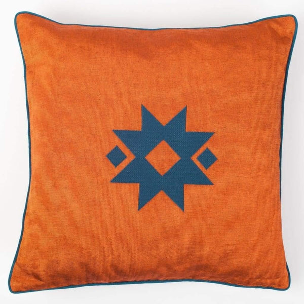 Kutnu Silk Pillow with Embroidery - Star Orange Authentic Silk Cushion - Yastk