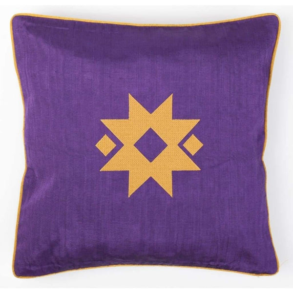 Kutnu silkekudde med broderi - Star Purple Authentic Silk Cushion - Yastk