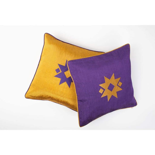 Kutnu Silk Pillow with Embroidery - Star Purple Authentic Silk Cushion - Yastk