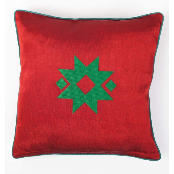 Kutnu Silk Pillow with Embroidery - Star Red Authentic Silk Cushion - Yastk