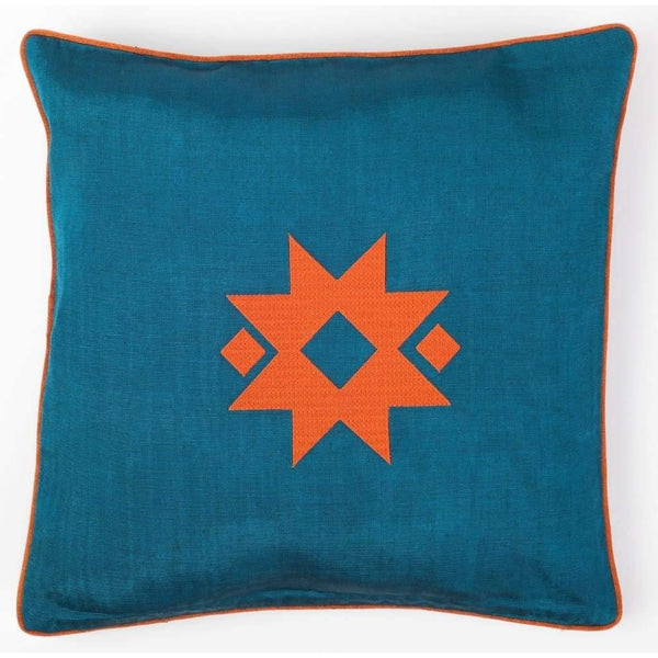 Kutnu Silk Pillow with Embroidery - Star Turquoise Authentic Silk Cushion - Yastk