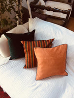 Load image into Gallery viewer, Kutnu Silk Pillow with Embroidery - Fertility , Orange Authentic Silk Cushion