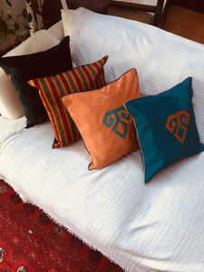 Kutnu Silk Pillow with Embroidery - Fertility , Turquoise Authentic Silk Cushion