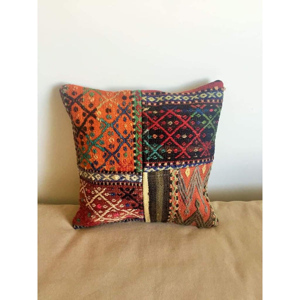 Vintage Kilim Pillow Cover no. 1 16x16 - Yastk