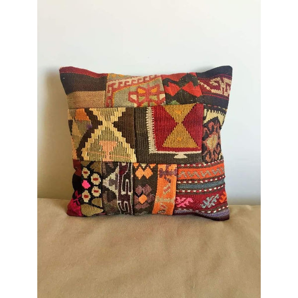 Vintage Kilim Pillow Cover no. 3 16x16 - Yastk