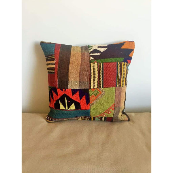 Vintage Kilim Pillow Cover no. 4 16x16 - Yastk