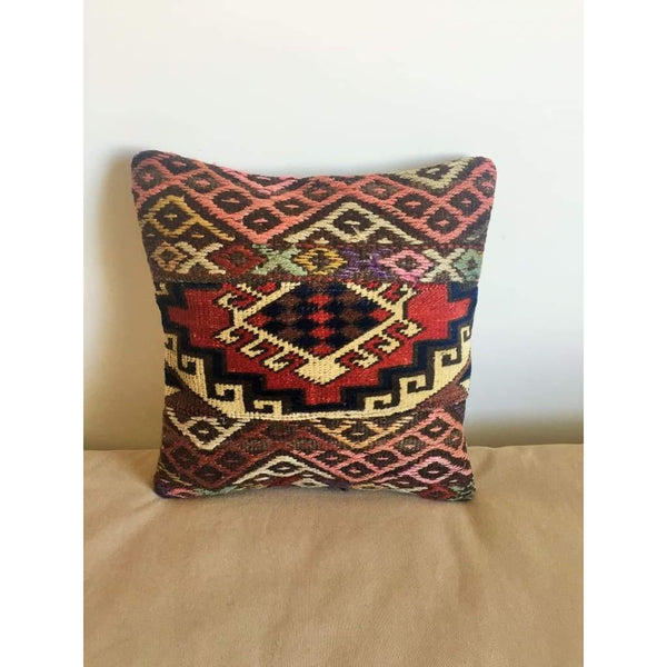 Vintage Kilim Pillow Cover no. 7 16x16 - Yastk