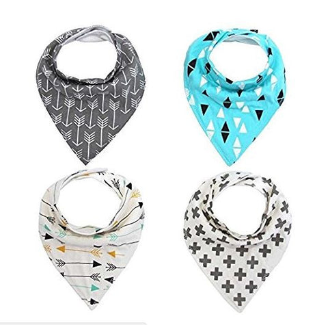 Baby Bandana Bib 100% Organic with Snaps, 4-pack, Aqua and Grey