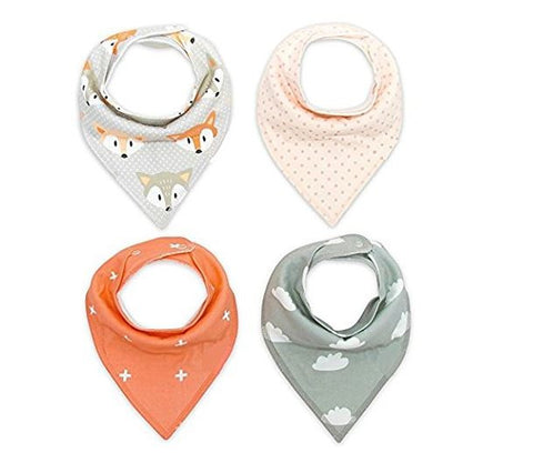 Baby Bandana Bib 100% Organic with Snaps, 4-pack, Clouds and Foxes