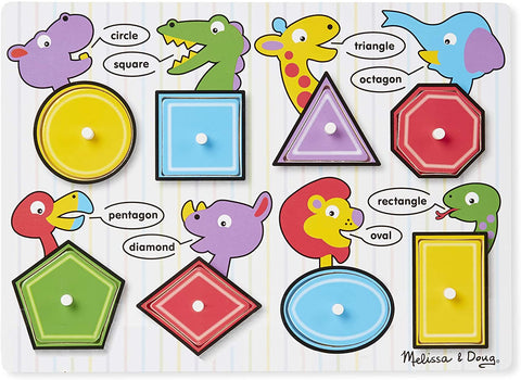 Shapes Wooden Peg Puzzle (8 pcs) - Puzzlers Jordan
