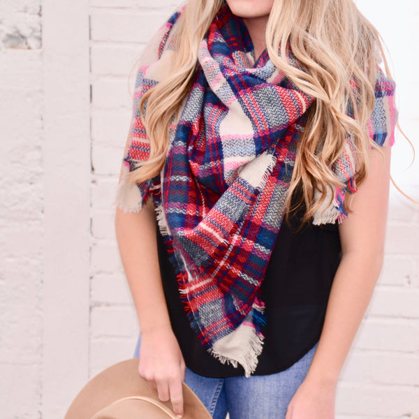 Let's Stay Home Plaid Scarf