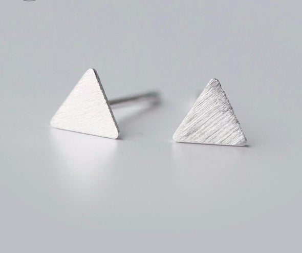 Minimalist Pyramid Sterling Silver Earrings