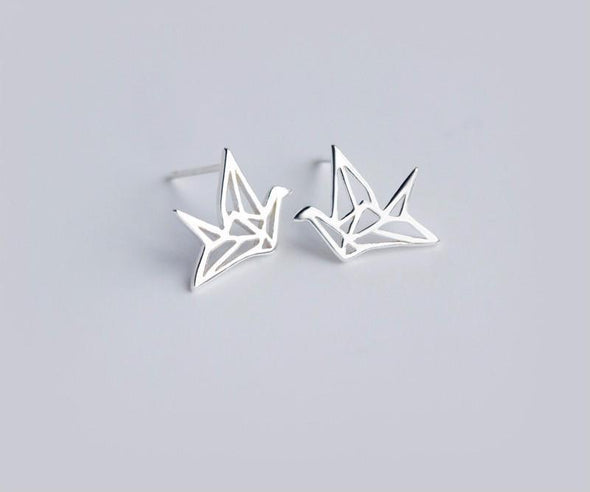 Origami Bird Sterling Silver Earrings