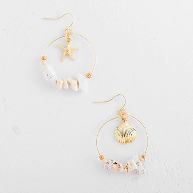 Harbor Shell Hoop Earrings
