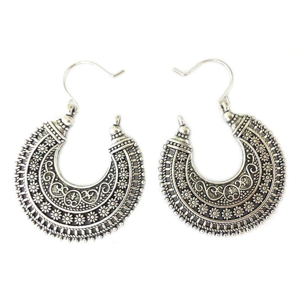 Tibetan Silver Carved Earrings