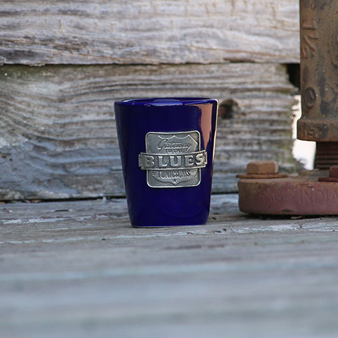 Gateway to the Blues Cobalt Shot Glass with Pewter Logo