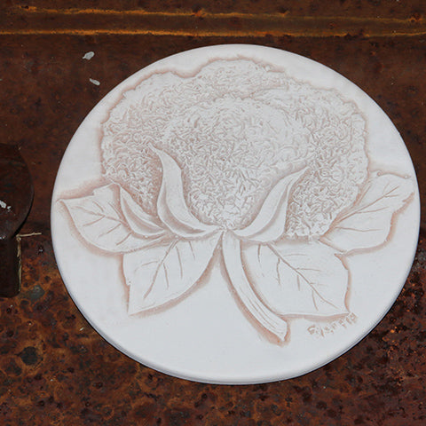 Handmade Ceramic Coaster Etched with Cotton Boll