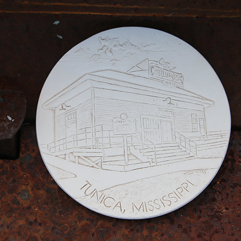 Handmade Ceramic Coaster Etched with Gateway to the Blues Building
