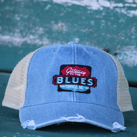 Gateway to the Blues Trucker Hat--Light Denim
