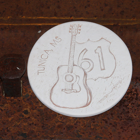 Handmade Ceramic Coaster etched with Highway 61 Sign & Blues Guitar