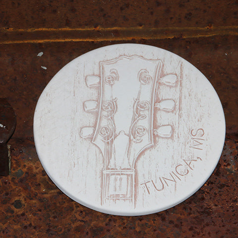 Handmade Ceramic Coaster etched with Blues Guitar Neck