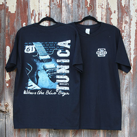 Tunica, MS - Gateway to the Blues Logo Guitar with Lyrics T-Shirt