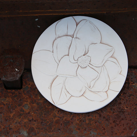Handmade Ceramic Coaster Etched with a Mississippi Magnolia