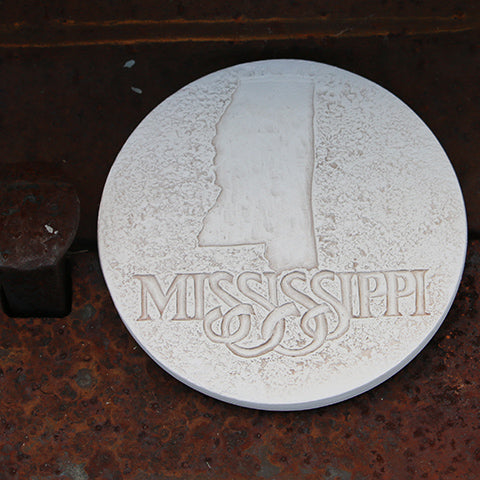 Handmade Ceramic Coaster Etched with Mississippi