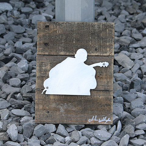 Reclaimed Wood-Metal Artwork -- BB King Silhouette