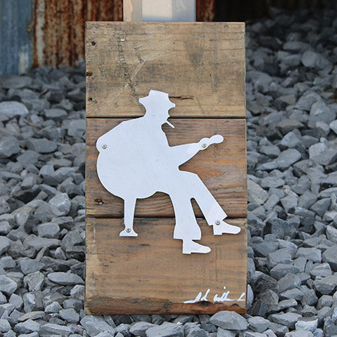 Reclaimed Wood-Metal Artwork -- Bluesman 1