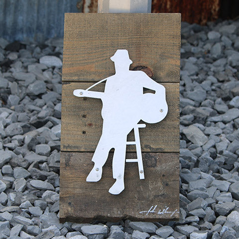 Reclaimed Wood-Metal Artwork -- Bluesman 2