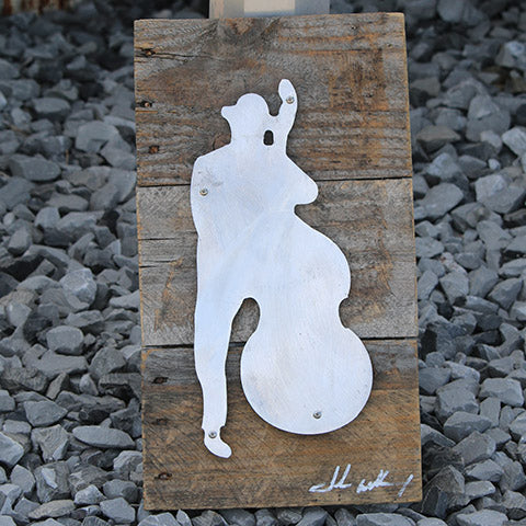 Reclaimed Wood-Metal Artwork -- Bluesman 3