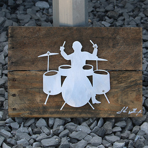 Reclaimed Wood-Metal Artwork -- Drummer