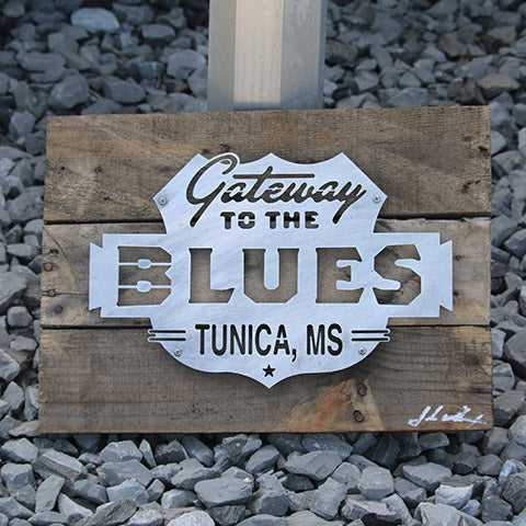 Reclaimed Wood-Metal Artwork -- Gateway to the Blues Logo
