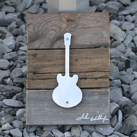 Reclaimed Wood-Metal Artwork -- Lucille Guitar