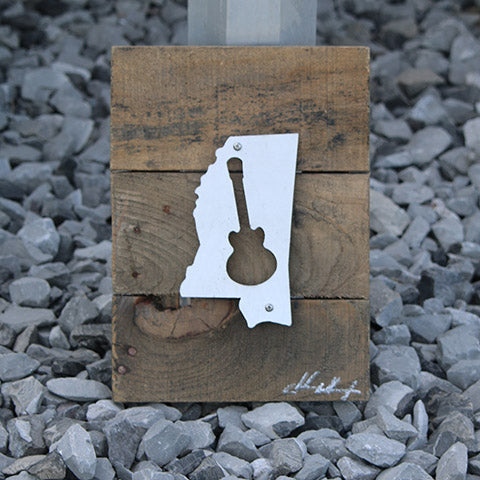Reclaimed Wood-Metal Artwork -- Mississippi Music