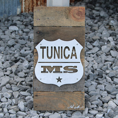 Reclaimed Wood-Metal Artwork -- Tunica, MS Logo