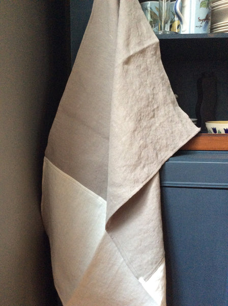 Taupe and ivory linen dishtowel, hanging