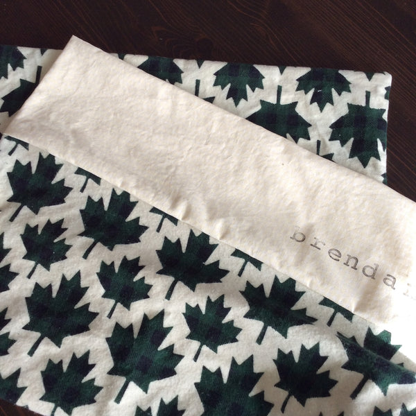 Flannel Pillowcase - Green Maple Leaf