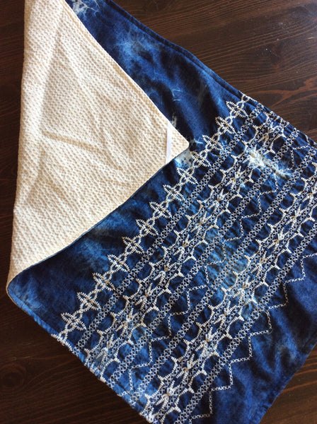 Dishtowel - Blue Embroidered