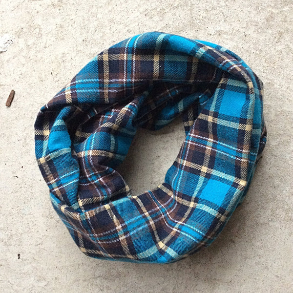 brushed cotton infinity scarf, turquoise with brown and ochre plaid