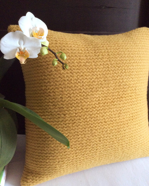 Upcycled Sweater Pillow in Mustard Wool