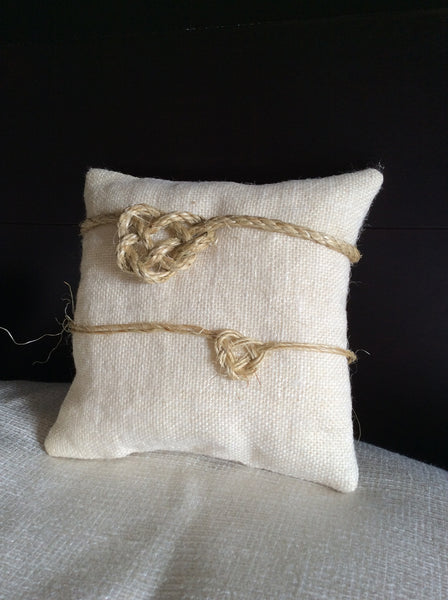 Pocket Pillow with Heart Knot - Burlap