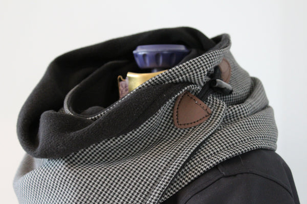 men's grey and black houndstooth and fleece neck wrap toggle detail