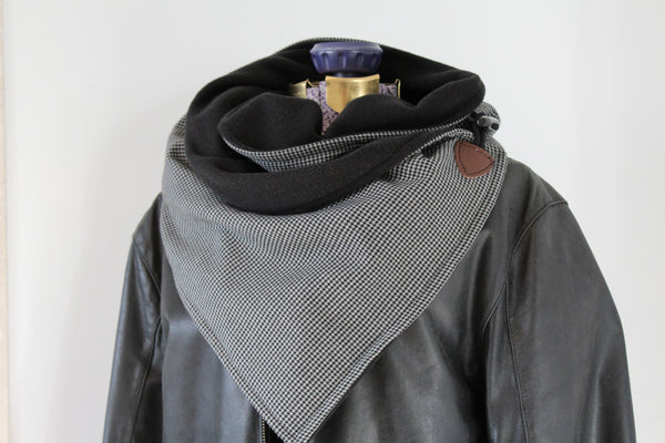 men's grey and black houndstooth and fleece neck wrap with jacket